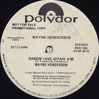 Wayne Henderson / Dancin' Love Affair back