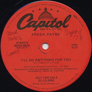 Freda Payne / I'll Do Anything For You c/w Happy Days Are Here Again