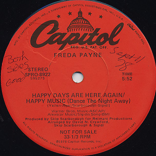 Freda Payne / I'll Do Anything For You c/w Happy Days Are Here Again back