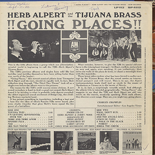 Herb Alpert and The Tijuana Brass / Going Places back