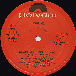 Level 42 / Weave Your Spell back