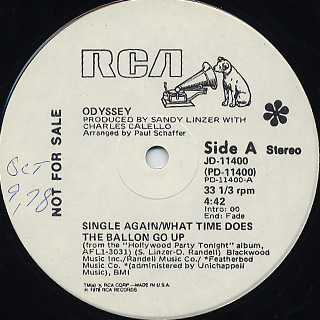 Odyssey / Single Again/What Time Does The Ballon Go Up c/w Pride