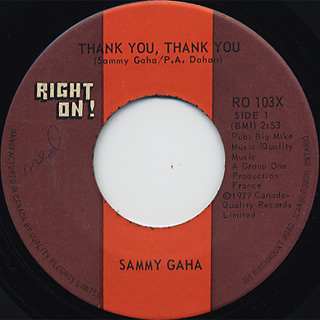 Sammy Gaha / Thank You, Thank You