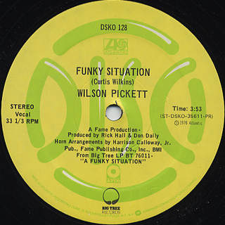 Wilson Pickett / Funky Situation c/w She's So Tight back
