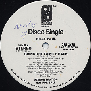 Billy Paul / It's Critical c/w Bring The Family Back