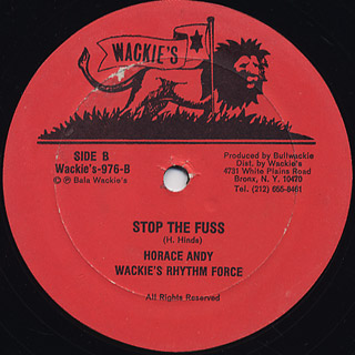 Horace Andy Wackies Rhythm Force / Rock With Me c/w Stop The Fuss back