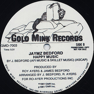 Jaymz Bedford / Just Keep My Boogie c/w Happy Music back