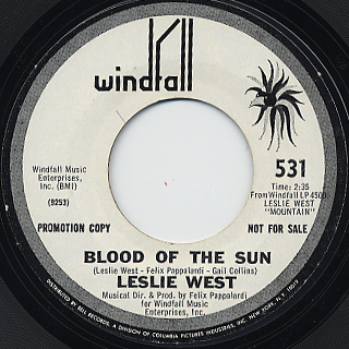 Leslie West / Long Red c/w Blood Of The Sun back