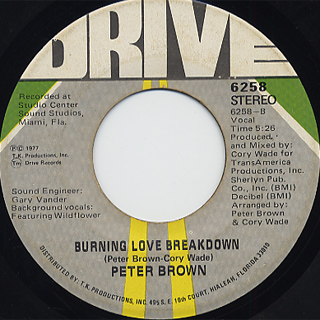 Peter Brown / Do Ya Wanna Get Funky With Me c/w Burning Love~ back