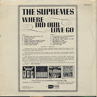 Supremes / Where Did Our Love Go back
