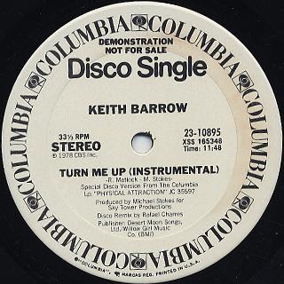 Keith Barrow / Turn Me Up c/w Instrumental back