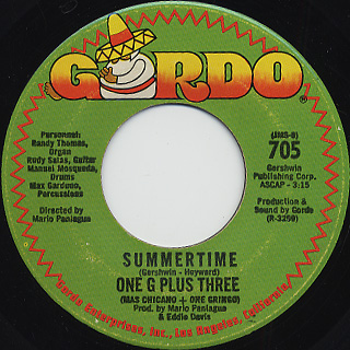 One G Plus Three / Poquito Soul c/w Summertime back