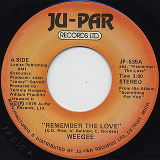 Wee Gee / Remember The Love c/w You've Been A Part Of Me