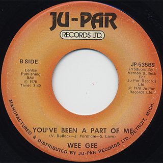 Wee Gee / Remember The Love c/w You've Been A Part Of Me back