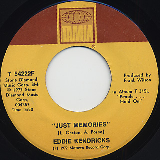 Eddie Kendricks / Just Memories c/w If You Let Me front