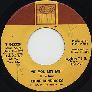 Eddie Kendricks / Just Memories c/w If You Let Me back
