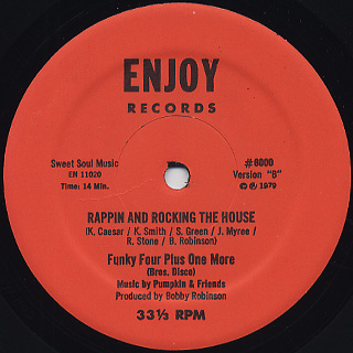 Funky Four Plus One More / Rappin And Rocking The House back