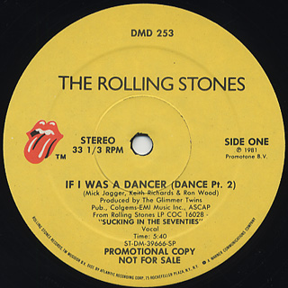 Rolling Stones / If I Was A Dancer(Dance Pt.2) c/w Dance(Inst.)