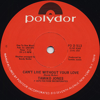 Tamiko Jones / Can't Live Without Your Love c/w Tamiko Letting It Flow