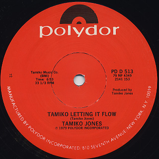 Tamiko Jones / Can't Live Without Your Love c/w Tamiko Letting It Flow back