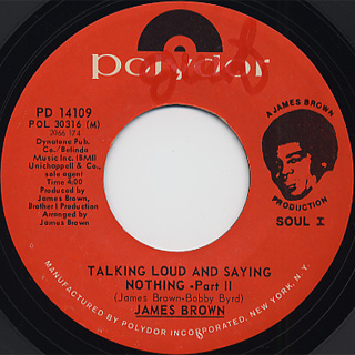 James Brown / Talking Loud And Saying Nothing back