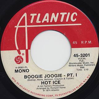 Hot Ice / Boogie Joogie (Pt.1) back