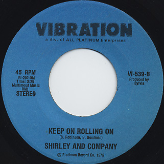 Shirley And Company / Disco Shirley c/w Keep On Rolling On back