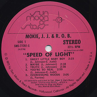 Mokie, J.J. & R.O.B. / Speed Of Light label