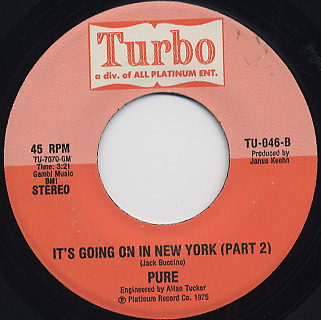 Pure / It's Going On In New York (Part 1) c/w (Part 2) back