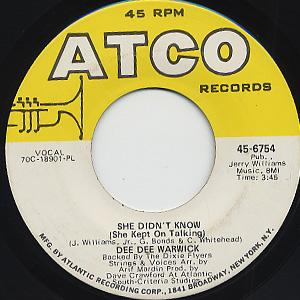 Dee Dee Warwick / She Didn't  Know (She Kept On Talking)