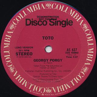 Toto / Georgy porgy (Special Disco Remix) back