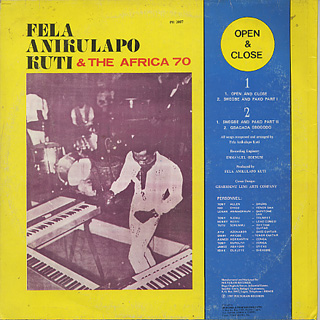 Fela Anikulapo Kuti & The Afrika 70 / Open & Close back