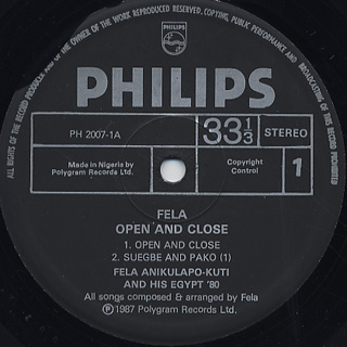 Fela Anikulapo Kuti & The Afrika 70 / Open & Close label