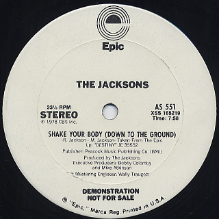 Jacksons / Shake Your Body(Down To The Ground) c/w Things I Do For You