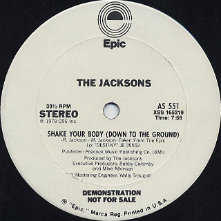Jacksons / Shake Your Body(Down To The Ground) c/w Things I Do For You back