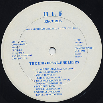 Universal Jubileers / We Are The Universal Jubileers label