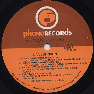 L.V. Johnson / We Belong Together label