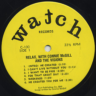 Connie McGill and The Visions / Relax, With Connie McGill and The Visions label