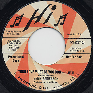 Gene Anderson / Your love Must Be Voo Doo back