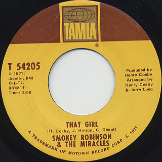 Smokey Robinson & The Miracles / That Girl c/w I Don't Blame You At All back