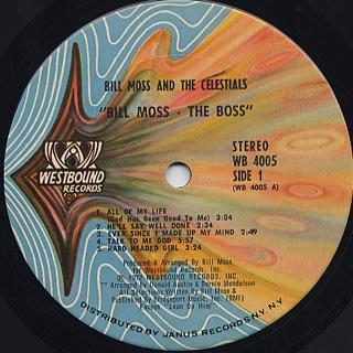 Bill Moss & The Celestials / Bill Moss The Boss label