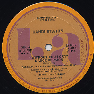 Candi Staton / Without You I Cry(Dance Version) back