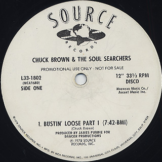 Chuck Brown & The Soul Searchers / Bustin' Loose(Part I & II) back
