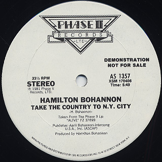 Hamilton Bohannon / Take The Country To N.Y. City back