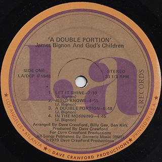 James Bignon And God's Children / A Double Portion label