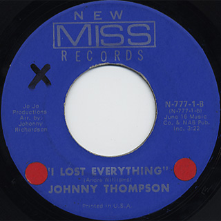 Johnny Thompson / Mainsqueeze c/w I Lost Everything back