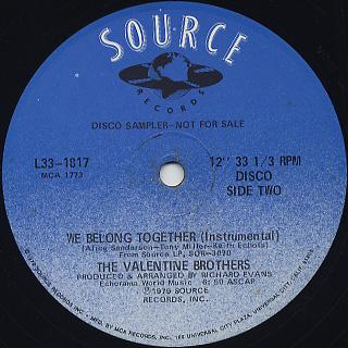 Valentine Brothers / We Belong Together back