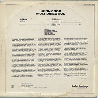 Kenny Cox and The Contemporary Jazz Quintet / Multidirection back