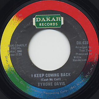 Tyrone Davis / Turn Back The Hands Of Time c/w I Keep Coming Back back