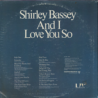 Shirley Bassey / And I Love You So back